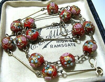 Vintage Antique Art Deco 1930's Red Wedding Cake Venetian Glass Bead NECKLACE