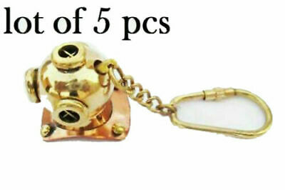 New Brass Divers Helmet Keychain Nautical Diving Keyring Gifts ITEMS lot of 5 pc