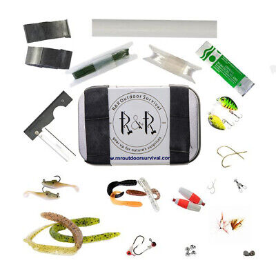 Survival Fishing Kit With 37 Pieces Of Fish Tackle In Pocket Size Metal Tin