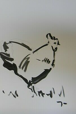 JOSE TRUJILLO Acrylic Painting Expressionist Chicken Rooster Art Black & White