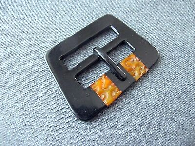 Antique Czech flapper carved black inlaid amber color galalith belt buckle 50o