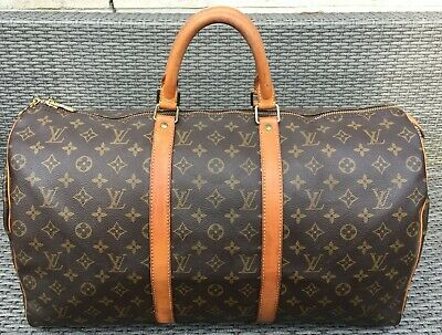 f9f445bfa3875 Louis Vuitton Bag Keepall 50 Made in France reise Tasche Vintage Monogram  Canvas