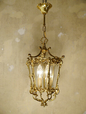 Small Solid Classic Brass Lantern Solid Ceiling Lamp Fixtures Chandelier Glass