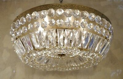 Large Crystal Glass Ceiling Lamp Light Chandelier Lustre Used Plafonnier Brass