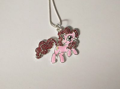 MY LITTLE PONY Inspired Large Charm NECKLACE With Rhinestones PINKIE PIE