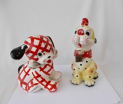 Two Vintage DOG BANKS w/ Padlocks~~Napco & Norcrest Japan~~Whimsical