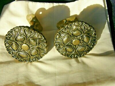 2 Vintage Brass Metal Curtain Tiebacks or Holdbacks