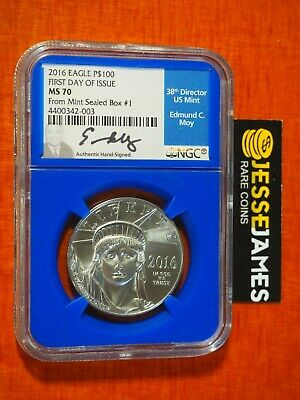2016 $100 Platinum Eagle Ngc Ms70 First Day Of Issue Fdi From Mint Sealed Box #1