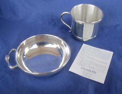 Salisbury Pewter Porringer Baby Cup 2pc Set Gift Images of America Boxed USA NIB