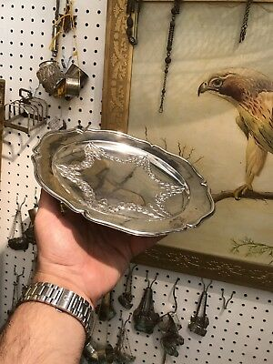 Antique 19th C French Or German Solid Silver Plate Dish In 3D Style Scrap 320.4g