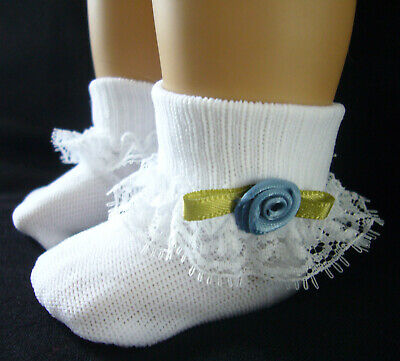 Lace Trim Socks with Lavender Rosebuds for Wellie Wishers Doll Accessories