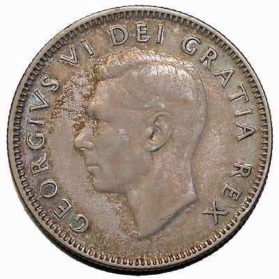 1949 Canada British King George VI Silver Twenty-Five 25 Cents Canadian Coin