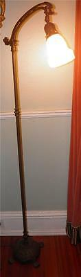 Antique Rembrandt Arts & Crafts  Bridge Floor Lamp  Brass Cast Iron Glass Shade