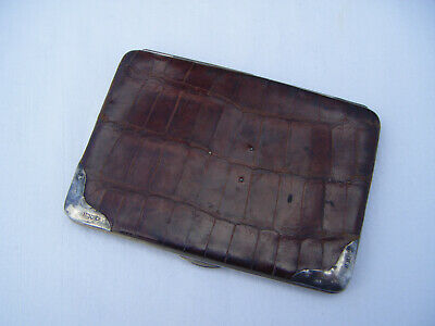 Art Deco crocodile leather stamp card case wallet silver mounts Hallmarked