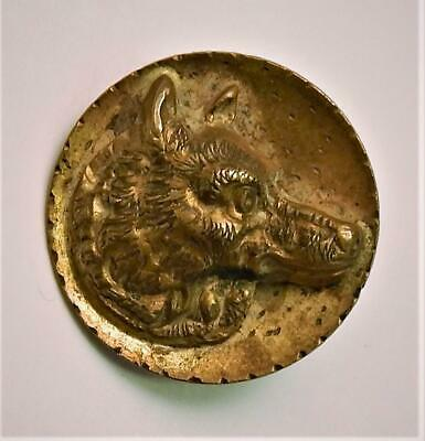 Large Antique Brass Shank Picture Button Wolf Dog Coyote Canine Head Applied