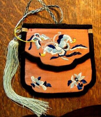 Antique Chinese Ladies Embroidered Silk Purse With Tassel & Carry String As Is