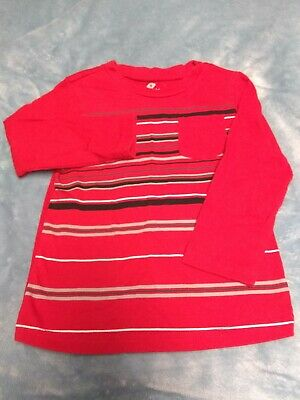 Infant/Toddler Boy 24 Months Red Striped Long Sleeve Shirt Okie Dokie Brand