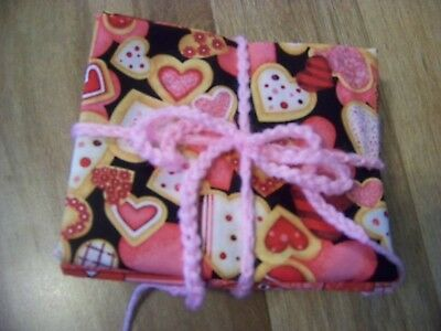Fat Quarters 10 in Set Valentine Red, Pink Hearts on Black Background (#31)