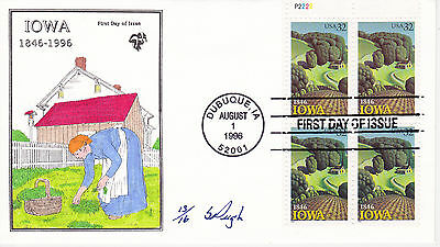 Pugh Hand Painted First Day Cover Fdc - 1996 Iowa Statehood Issue Pb L.e. 13/16