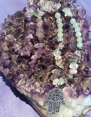 Wow - Unique Handcrafted One Of Kind Fluorite, Amethyst & Hamsa Hand Necklace