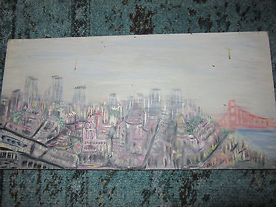 VINTAGE San Francisco mod abstract cityscape hand painted oil original PAINTING