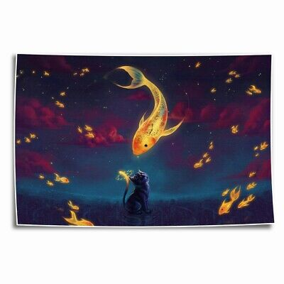 Cat s Dream Paintings HD Print on Canvas Home Decor room Wall Art Pictures 14x20