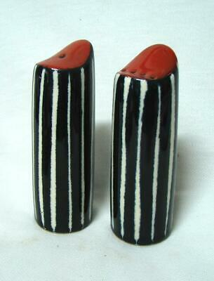 RETRO black and white stripe Tall Salt and pepper shakers GROOVY