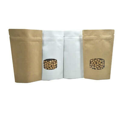 100x Stand Up Kraft Paper Aluminum Foil Mylar Zipper Bags Food Pouch With Window