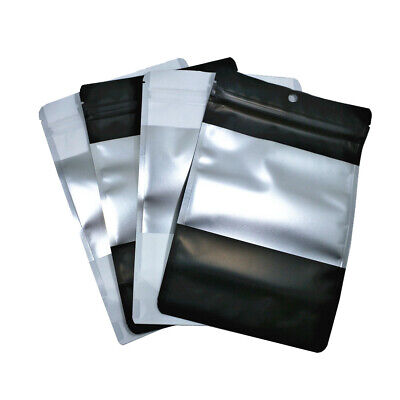 100x Stand Up Aluminum Foil Bag Hang Hole Zip Lock Mylar Pouch With Clear Window