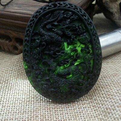 Hand Carved Dragon Chinese Natural Black Green Jade Pendant Lucky Amulet Gifts