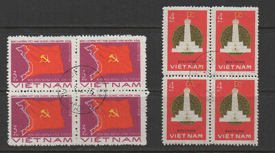 Vietnam, 1976/7 SG112 & 143 fine used blocks of 4