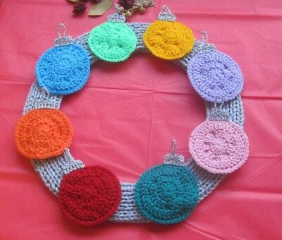 Flat Hand Knitted / Crocheted Xmas Bauble Wreath. Gorgeous.