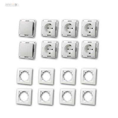 Sockets and Switch Set Flair Beginner 16-teilig up Flush-Mounted White Starter