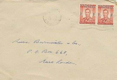 SOUTHERN RHODESIA 1942 King George VI 1 d. scarlet (2 x) rare multiple postage