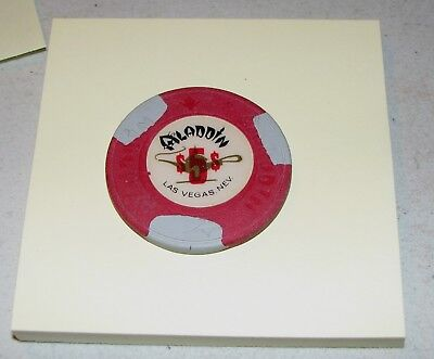 Rare #9 R-5 $5 Aladdin Las Vegas Red w/ 3 Gray - Casino Chip