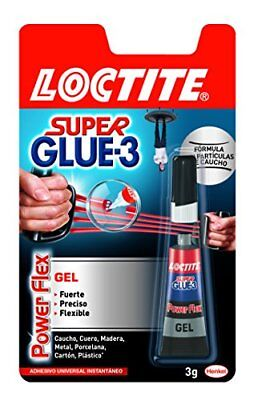 Loctite Super Glue-3 Power Flex, gel adhesivo flexible y resistente, pegamento