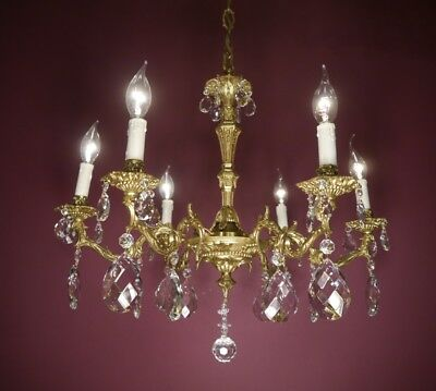 Crystal Gold Bronze Brass Chandelier Old Ceiling Lamp Antique Fixtures