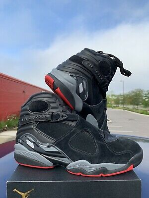 best sneakers 9e3dc ef462 Nike Air Jordan 8 VIII Retro Bred Black Cement Gym Red Grey 305381-022 Size