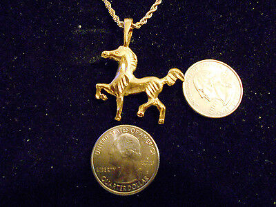 bling gold plated rodeo horse show animal pendant charm chain necklace jewelry