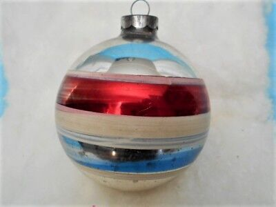 Extra Large 3 1/2 Inch Corning Red White Blue Striped Patriotic Glass Ornament