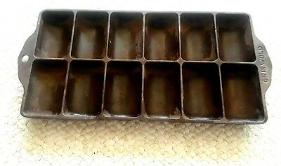 Antique GRISWOLD NO 11 CAST IRON French Roll  Biscuit Pan  no. 950