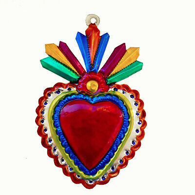 Hand-Punched Tin Ornament Gift Sacred Heart Milagro Colorful Mexican Folk Art