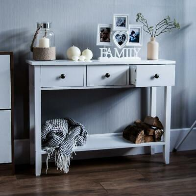 Home Discount Windsor 3 Drawer Console Table With Shelf, White Wooden...