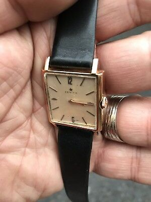 Antique Style 18ct Yellow Gold 1960 Zenith Kennedy Watch Man Or Woman Swiss Made
