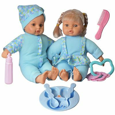 "12"" Twins Dolls With 6 Sounds Twin Babies Cuddles Baby Girl Boy Born Doll"