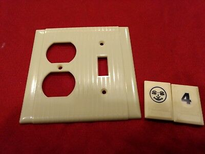 1 Ivory Vtg Bryant Ribbed Deco 2 Gang Outlet Switch Combination Cover Plate BJ4