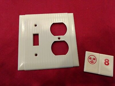 1 Ivory Vtg Hubbell Ribbed Deco 2 Gang Outlet Switch Combination Cover Plate RJ8