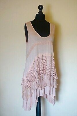 901f9db3ff Made in Italy   Pink 5 Tiered Lagenlook Lace Crochet Tunic Dress  size