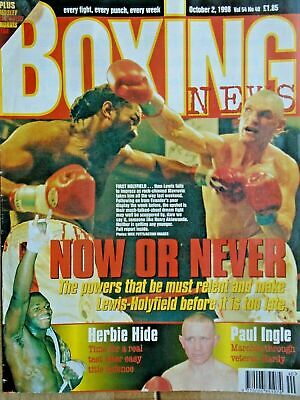 BOXING NEWS - 2nd oct 1998 - herbie, paul, lewis holyfield, naz free p&p to uk