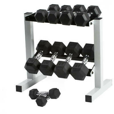 Dumbbell Weight Set With Rack Rubber Hex 5-25 Lb. Easy Grip Pro Set